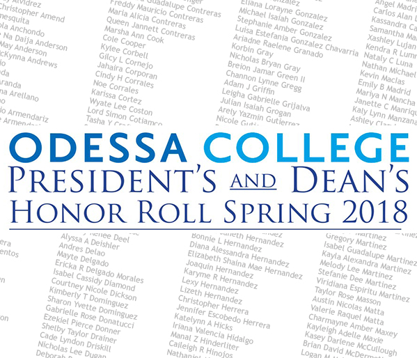 President's and Dean's Honor Roll Spring 2018