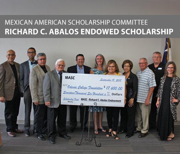 Mexican American Scholarship Committee (MASC) donation to the Richard C. Abalos Endowed Scholarship